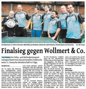 Zeitungsartikel: Finalsieg gegen Wollmert & Co (Solinger Tageblatt 01.07.2015)